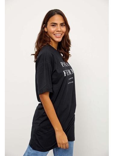 Setre Mor Kısa Kol Bisiklet Yaka T-Shirt Siyah